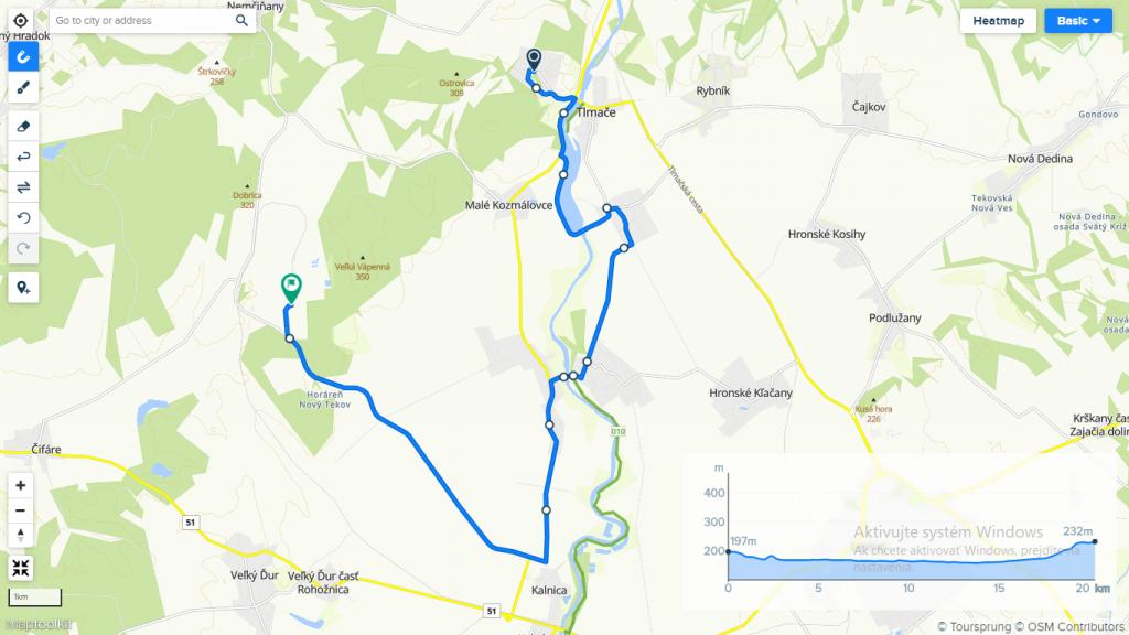 Trasa hobby pretekov Energia na bicykli 2021.